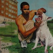 Alberto and Shango, from the cycle My friends and their dogs, oil/canvas, 125x160cm, 2007
