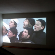 And the Ship Sails On, video, installation view