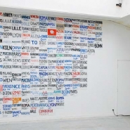 Signs, installation view, ENSA Dijon, 2010, work in progress (used hitchhiking signs on A4 paper on wall)